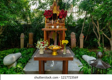 CHAO MAE TUPTIM SHRINE, BANGKOK, THAILAND - MARCH 7, 2018: Temple of the Godess of fertility Tubtim, penises and phallic architecture