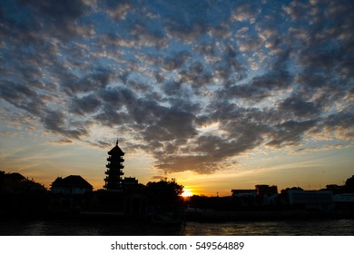 Chao Phraya River during sunset in Bangkok, Thailand