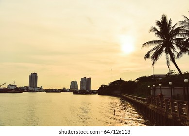 Chao Phraya River During Yellow Sunset