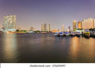 Chao Phraya River at Night, Bangkok, Thailand