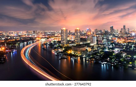 Chao Phraya river at night bangkok city