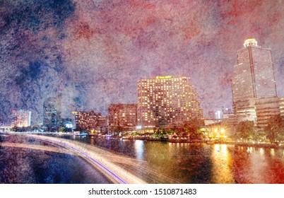 Chao Phraya River night scene with beautiful city view at Bangkok Thailand, watercolor
