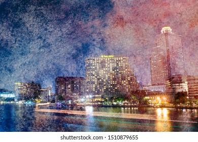 Chao Phraya River night scene with beautiful city view at Bangkok Thailand, watercolor style.