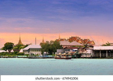 Chao phraya river and palace bangkok thailand