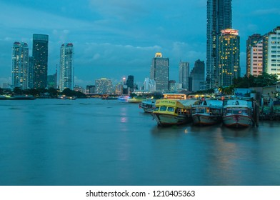 Chao Phraya River - Sep 2, a major transportation artery for a network of river buses at Asiatique port on September 2, 2018 in Bangkok, Thailand