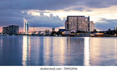 Chao Phraya River,beauty of the building image before twilight sunset bangkok thailand