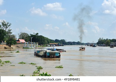 CHAO PRAYA River with transportation boat in Thailand.