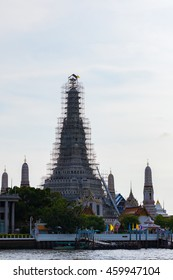 Chaophraya River in front Wat Arun and blue sky, Temple of Dawn, Bangkok, central of Thailand