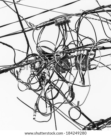 Chaos Cables Wires Valparaiso Chile Black Stock Photo Edit Now