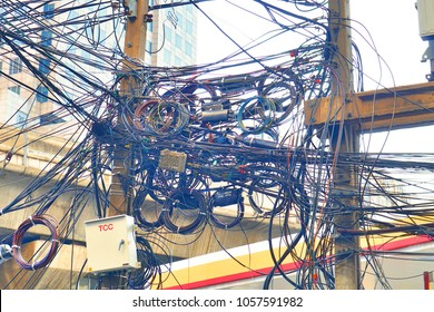 Chaos & Messy Power Cables, At Bangkok, Thailand