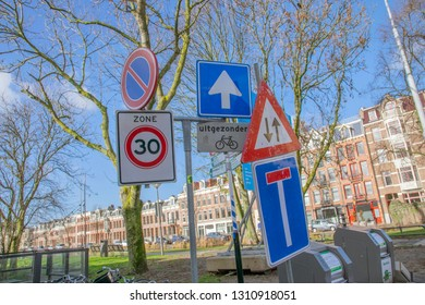 Chaos Of Street Signs At Amsterdam The Netherlands 2019