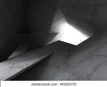 Chaotic concrete architecture. Dark empty room. Abstract construction background. 3d render illustration