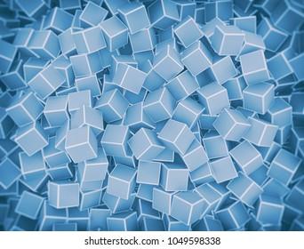 Chaotic grey 3d cubes background. 3d render illustration