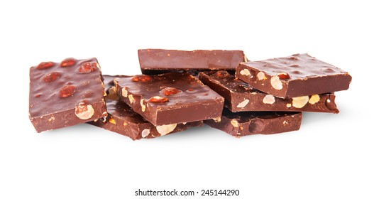 Chaotic Heap Of Dark Chocolate Isolated On White Background