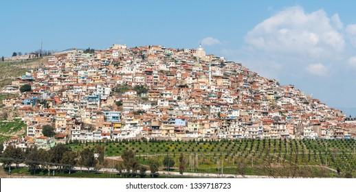 Chaotic housing construction on Kadifekale hill in Izmir, Turkey.