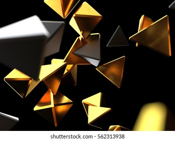 Chaotic particles from black and gold pyramids isolated on black background. 3d rendering