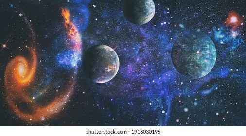 Chaotic space background. Planets, stars and galaxies in outer space showing the beauty of space exploration. The elements of this image furnished by NASA.