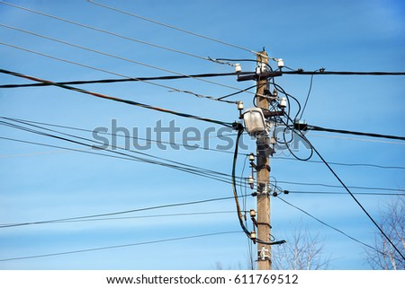 Fabulous Chaotic Wires Pole Lamp Stock Photo Edit Now 611769512 Shutterstock Wiring 101 Hateforg