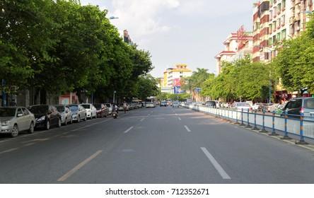 CHAOZHOU, CHINA - JULY 31, 2014 : Moment of quiet along Chaofeng road at Chaozhou town, Guangdong, China.