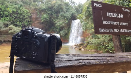 Chapada dos Guimarães, Brazil. June 2018. Valentine's Waterfall from the point of view of a photographer and his camera.