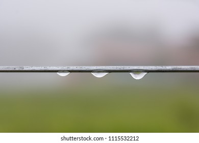 Chapada dos Guimaraes. June 2018. Three drops of dew (water) on the thread of a log on a cold day in the middle of the field.