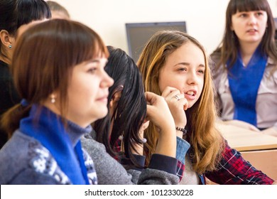 CHAPAEVSK, SAMARA REGION, RUSSIA - JANUARY 26, 2018: College in Chapaevsk city. Students in the classroom