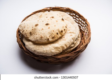 Chapati / Tava Roti also known as Indian bread or Fulka/phulka. Main ingredient of lunch/dinner in India/Pakistan. selective focus