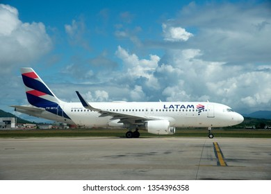 Chapeco - Brazil March 29, 2019 Airplane photo of airline Tam, at the airport in Brazil