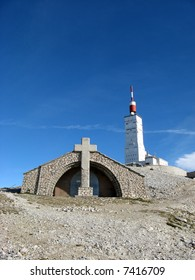 Chapel and aerial of Mount Ventoux,Vaucluse, France