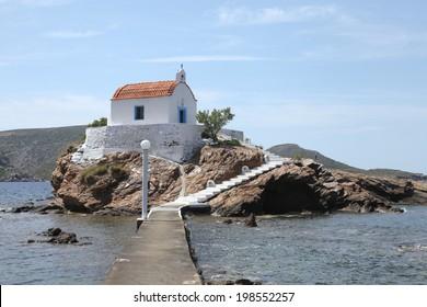 chapel Agios Issidoros on a smal rock island, Leros