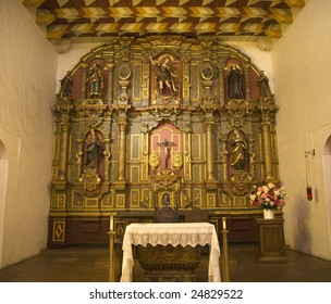 Chapel Altar Table Details Mission Dolores Saint Francis De Assis Ornate Carvings San Francisco California This is the oldest building in San Francisco, founded in 1776.