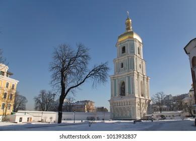 Chapel belfry in Sophia Cathedral Church, Kiev Ukraine in January winter 2018.