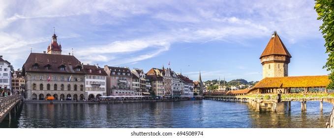 Chapel Bridge in Lucerne in Switzerland