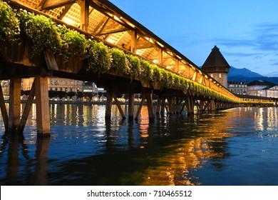 Chapel Bridge in Luzern, Switzerland at night