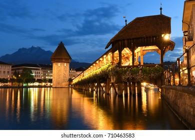 Chapel Bridge in Old Luzern, Switzerland at night