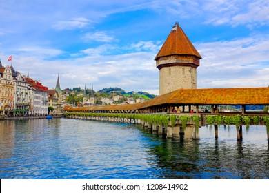 Chapel Bridge with Water Tower in Lucerne Switzerland (Kapellbrücke mit Wasserturm in Luzern Schweiz)