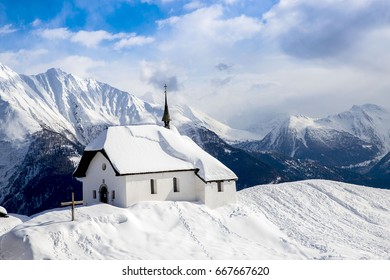 "Chapel called ""Kapelle Maria zum Schnee"" in the Bettmeralp, Switzerland"