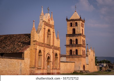 Chapel, church and bell tower at the UNESCO World Heritage Jesuit Mission in San Jose de Chiquitos, Bolivia