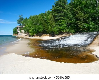 Chapel Creek flows into Lake Superior in northern Michigan