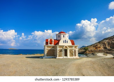 Chapel in Crete greak near Hersonissos by the coast next to the sea