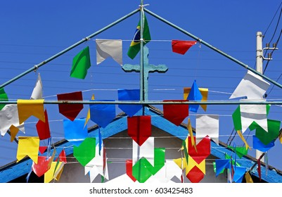 Chapel decorated with typical small paper streamers of folklore Festivals in Brazil