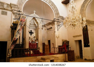 Chapel of Deyrulzafaran Monastery with the patriarch's throne to the left of the altar and the throne of the metropolitan to the right, Mardin, Eastern Anatolia, Turkey