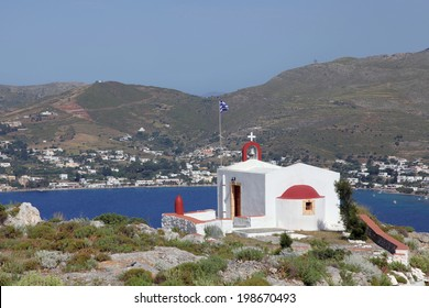 chapel with fantastic view on Leros island, Greece