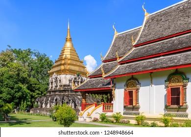 Chapel and golden pagoda at Wat Chiang Man in Chiang Mai, North of Thailand