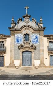 Misericórdia Chapel has a baroque façade covered with tiles. Sao Joao de Pesqueira, Douro Valley, Portugal.
