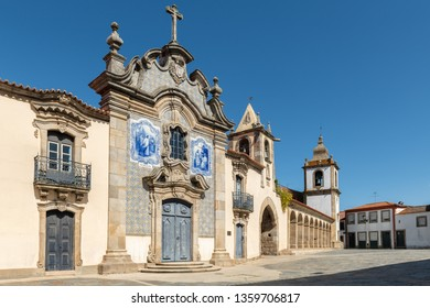 Misericórdia Chapel has a baroque façade covered with tiles. Sao Joao de Pesqueira, Douro Valley, Portugal.