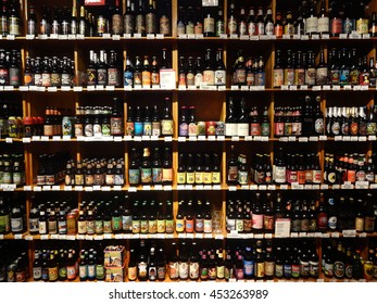 CHAPEL HILL, NC - DEC 2014: A huge selection of beer bottles lined up and on display in a specialty supermarket