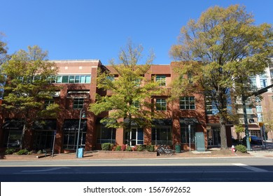 CHAPEL HILL, NC / USA - Nov 2019: Franklin Street on UNC's Campus lined with Shops, Cafes and Bars