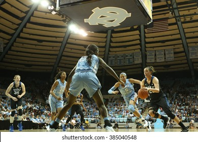 CHAPEL HILL, NC-FEB 28: Duke Blue Devils guard Rebecca Greenwell (23) drives to the basket against the University of North Carolina Tar Heels on February 28, 2016 at Carmichael Arena.