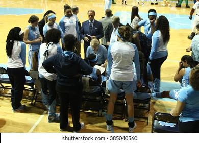 CHAPEL HILL, NC-FEB 28: Duke Blue Devils head coach Sylvia Hatchell speaks to the team against the University of North Carolina Tar Heels on February 28, 2016 at Carmichael Arena.